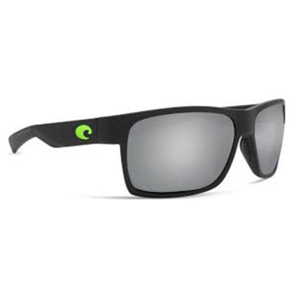Costa Del Mar Half Moon Matte Black Green Logo Frame Silver Mirror Grey Lens 580p